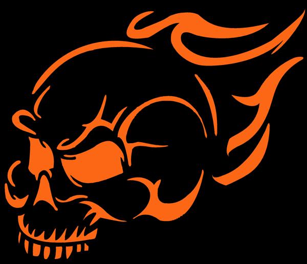 Free halloween pumpkin pattern flaming skull pattern for Free skull pumpkin carving patterns